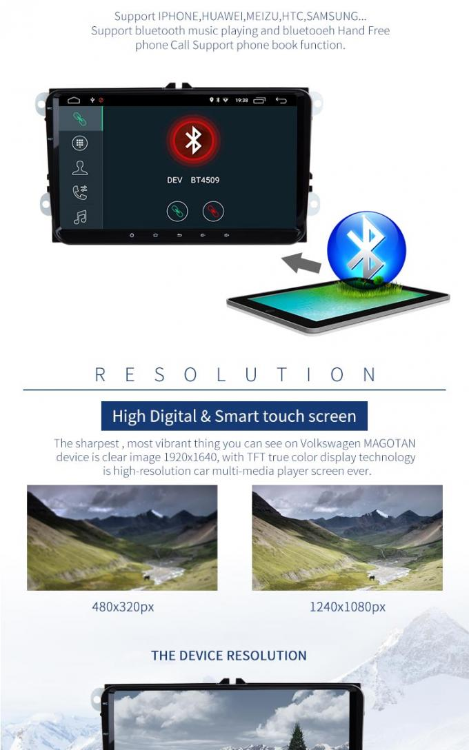 9 Inch Touch Screen Volkswagen DVD Player With MP3 MP4 MP5 Radio / Stereo